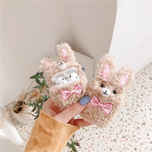 Cute Rabbit Furry Protective Case For Apple Airpods 1 & 2 - Casememe.com