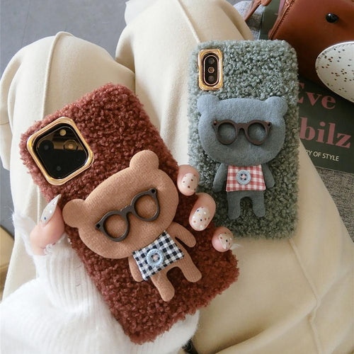 Bear with Glasses Furry Bumper Frame Shockproof Protective Designer iPhone Case For iPhone 11 Pro Max X XS Max XR 7 8 Plus - Casememe.com