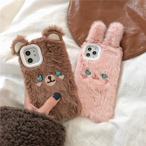 Cute Bear Rabbit Furry Shockproof Protective Designer iPhone Case For iPhone SE 11 Pro Max X XS Max XR 7 8 Plus - Casememe.com