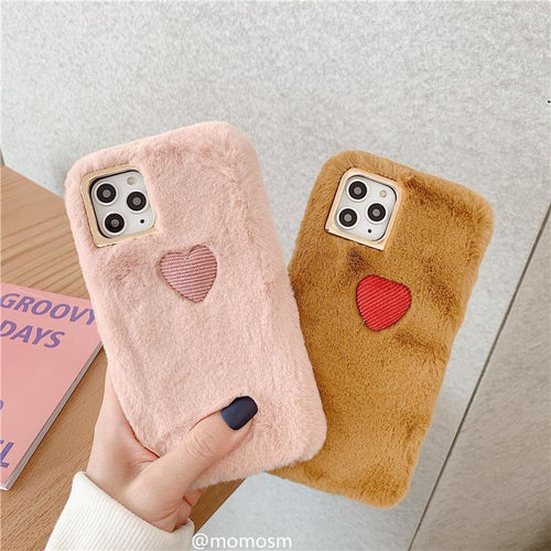 Heart Furry Shockproof Protective Designer iPhone Case For iPhone 11 Pro Max X XS Max XR 7 8 Plus - Casememe.com