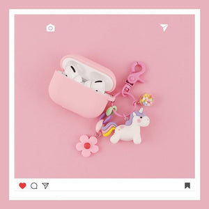 Pink Unicorn Keychain Protective Case For Apple Airpods Pro - Casememe.com