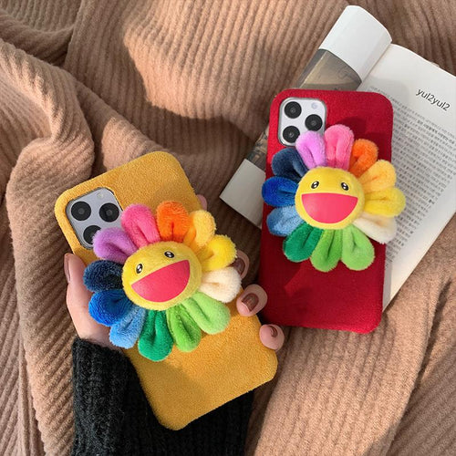 Takashi Murakami Style Flower Furry Shockproof Protective Designer iPhone Case For iPhone SE 11 Pro Max X XS Max XR 7 8 Plus - Casememe