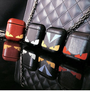 Fendi Style Little Devil Leather Protective Shockproof Case For Apple Airpods 1 & 2 - Casememe.com