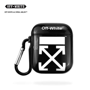 Off White OW Style Glossy Hard Silicone Protective Shockproof Case For Apple Airpods 1 & 2 - Casememe.com