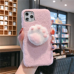 Cute 3D Paw Furry Shockproof Protective Designer iPhone Case For iPhone 11 Pro Max X XS Max XR 7 8 Plus - Casememe.com