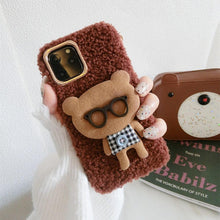 Load image into Gallery viewer, Bear with Glasses Furry Bumper Frame Shockproof Protective Designer iPhone Case For iPhone SE 11 Pro Max X XS Max XR 7 8 Plus - Casememe.com