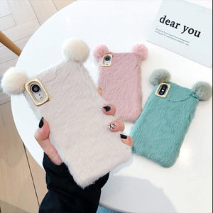 Bear Ears Furry Shockproof Protective Designer iPhone Case For iPhone SE 11 Pro Max X XS Max XR 7 8 Plus - Casememe.com