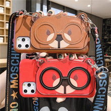 Load image into Gallery viewer, Cute Cartoon Animal Hand Strap Cardholder Wallet Leather Shockproof Protective Designer iPhone Case For iPhone SE 11 Pro Max X XS Max XR 7 8 Plus - Casememe.com