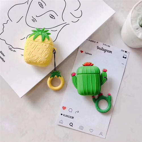Pinapple Cactus Cute Silicone Protective Shockproof Case For Apple Airpods 1 & 2 - Casememe.com
