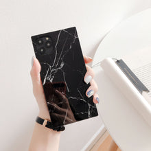 Load image into Gallery viewer, Black Marble Modern Glossy Square Silicone Shockproof Protective Designer iPhone Case For iPhone SE 11 Pro Max X XS Max XR 7 8 Plus - Casememe.com
