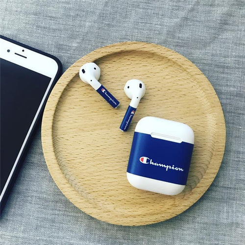 Champion Style Blue AirPods Skin Sticker Adhesive Protective Decal For Apple AirPods 1 & 2 - Casememe.com