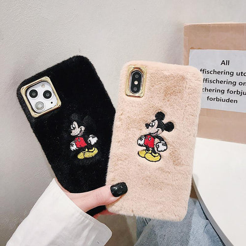 Disney Style Embroidery Mickey Mouse Furry Shockproof Protective Designer iPhone Case For iPhone 11 Pro Max X XS Max XR 7 8 Plus - Casememe.com