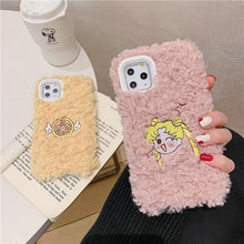 Load image into Gallery viewer, Sailor Moon Style Embroidery Furry Shockproof Protective Designer iPhone Case For iPhone SE 11 Pro Max X XS Max XR 7 8 Plus - Casememe.com