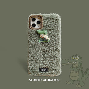 Cute Crocodile Furry Shockproof Protective Designer iPhone Case For iPhone SE 11 Pro Max X XS Max XR 7 8 Plus - Casememe.com