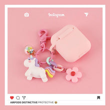 Load image into Gallery viewer, Pink Unicorn Keychain Protective Case For Apple Airpods Pro - Casememe.com