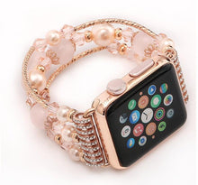 Load image into Gallery viewer, Rose Gold Jewelry Stretchable Shiny Compatible With Apple Watch 38mm 40mm 42mm 44mm Band Strap For iWatch Series 4/3/2/1 - Casememe.com