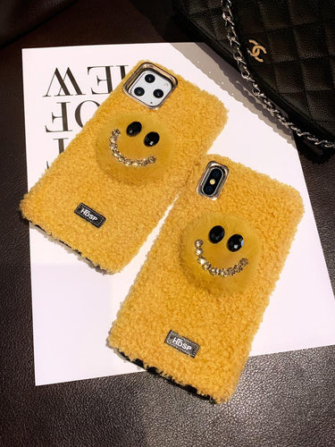 Smile Face Style Furry Shockproof Protective Designer iPhone Case For iPhone 11 Pro Max X XS Max XR 7 8 Plus - Casememe.com