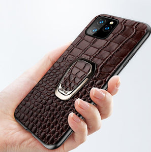 Leather Ring Holder Bumper Designer iPhone Case For iPhone SE 11 Pro Max X XS XS Max XR 7 8 Plus - Casememe.com