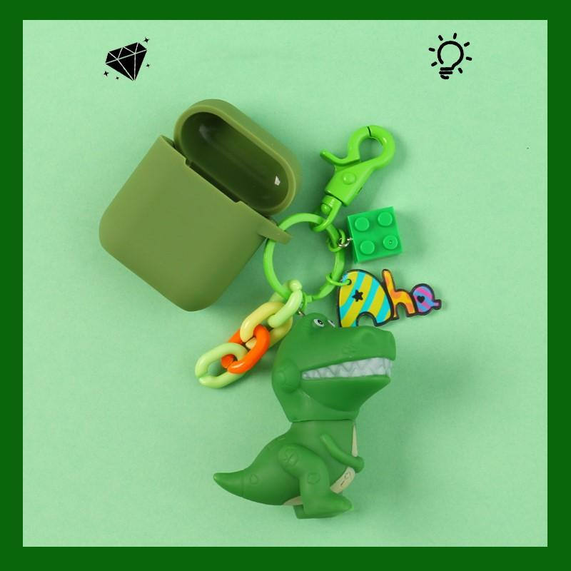 Green Dinasour Pendant Silicone Protective Case For Apple Airpods Pro - Casememe.com