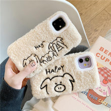 Load image into Gallery viewer, Stitched Piggy Furry Shockproof Protective Designer iPhone Case For iPhone 11 Pro Max X XS Max XR 7 8 Plus - Casememe.com
