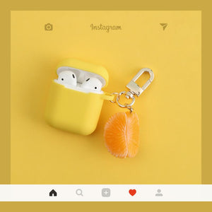 Orange Peel Summer Fruit Silicone Protective Shockproof Case For Apple Airpods 1 & 2 - Casememe.com