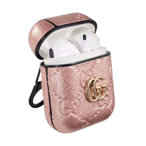 MORE COLORS Gucci Style Shimmer Logo Leather Protective Shockproof Case For Apple Airpods 1 & 2 - Casememe.com