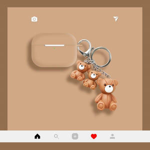 Teddy Bear Keychain Silicone Protective Case For Apple Airpods Pro - Casememe.com