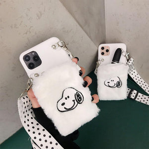 Snoopy Style Lanyard Furry Shockproof Protective Designer iPhone Case For iPhone SE 11 Pro Max X XS Max XR 7 8 Plus - Casememe.com