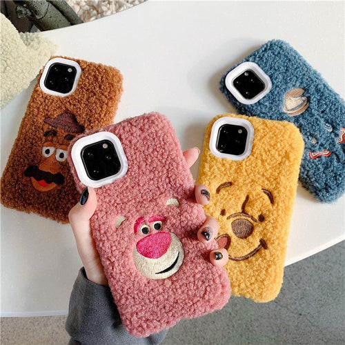 Winnie the Pooh Style Embroidery Furry Shockproof Protective Designer iPhone Case For iPhone 11 Pro Max X XS Max XR 7 8 Plus - Casememe.com