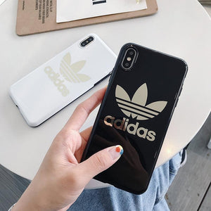 Adidas Style Electroplating Silicone Glossy Designer iPhone Case For iPhone 12 SE 11 Pro Max X XS XS Max XR 7 8 Plus - Casememe.com