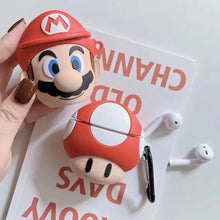 Load image into Gallery viewer, Super Mario Style Mushroom Face Silicone Protective AirPods 1 & 2 Case - Casememe.com