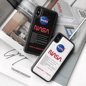 NASA Style Leather Shockproof Protective Designer iPhone Case For iPhone SE 11 Pro Max X XS Max XR 7 8 Plus - Casememe.com