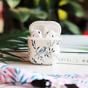 Chic Floral Simple White Hard Silicone Protective Shockproof Case For Apple Airpods 1 & 2 - Casememe.com