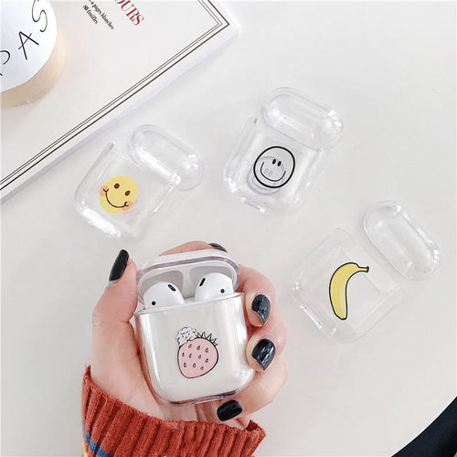 Smile Banana Strawberry Cute Hard Clear Protective Shockproof Case For Apple Airpods 1 & 2