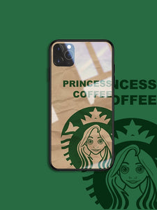 Princess Coffee Tempered Glass Shockproof Protective Designer iPhone Case For iPhone SE 11 Pro Max X XS Max XR 7 8 Plus - Casememe.com