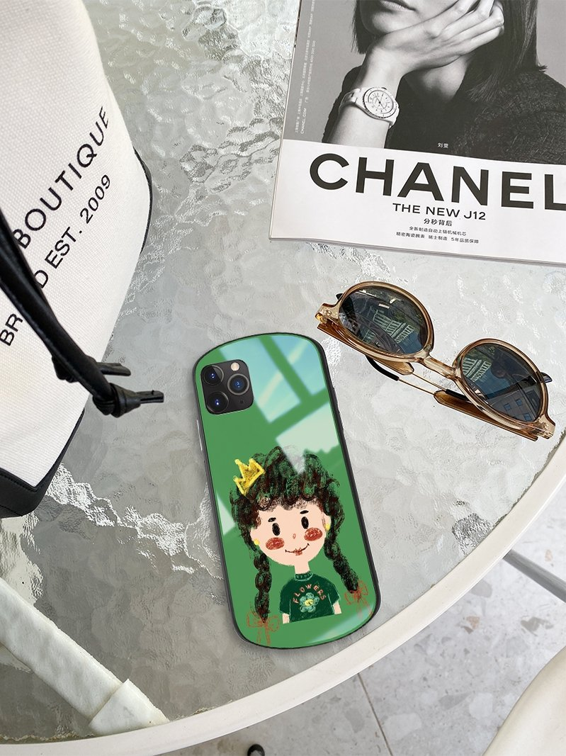 Cute Girl Round Corner Tempered Glass Shockproof Protective Designer iPhone Case For iPhone SE 11 Pro Max X XS Max XR 7 8 Plus - Casememe.com