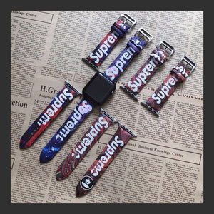 Supreme Style Graffiti Leather Compatible With Apple Watch iWatch 38mm 40mm 42mm 44mm Band Strap For iWatch Series 4/3/2/1 - Casememe.com