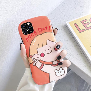 Cute Girl Round Corner Shockproof Protective Designer iPhone Case For iPhone SE 11 Pro Max X XS Max XR 7 8 Plus - Casememe.com