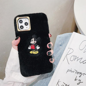 Disney Style Embroidery Mickey Mouse Furry Shockproof Protective Designer iPhone Case For iPhone SE 11 Pro Max X XS Max XR 7 8 Plus - Casememe.com