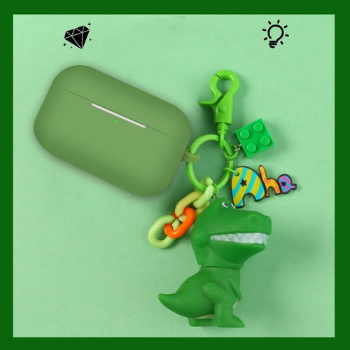 Green Dinosaur Pendant Silicone Protective Case For Apple Airpods Pro - Casememe.com