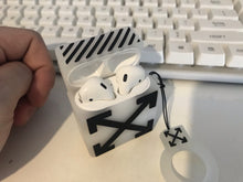 Load image into Gallery viewer, Off White OW Style Box Silicone Protective Shockproof Case For Apple Airpods 1 & 2 - Casememe.com
