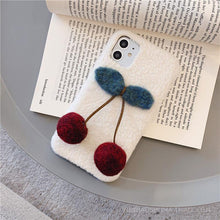 Load image into Gallery viewer, Cute 3D Cherry Furry Shockproof Protective Designer iPhone Case For iPhone SE 11 Pro Max X XS Max XR 7 8 Plus - Casememe.com