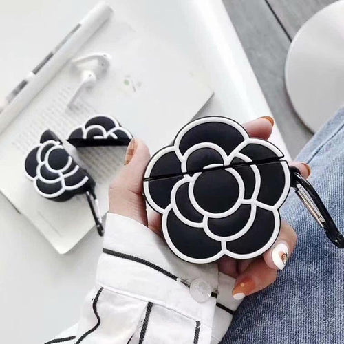 Chanel Style Camellia Black Flower Silicone Protective Shockproof Case For Apple Airpods 1 & 2 - Casememe.com