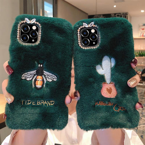 Embroidery Luxury Bee Furry Shockproof Protective Designer iPhone Case For iPhone SE 11 Pro Max X XS Max XR 7 8 Plus - Casememe.com