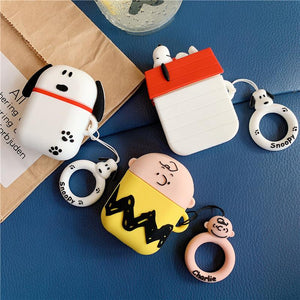 Snoopy Style Charles Silicone Protective Shockproof Case For Apple Airpods 1 & 2 - Casememe.com