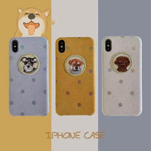 Load image into Gallery viewer, Cute Schnauzer Polka Dots Alcantara Shockproof Protective Designer iPhone Case For iPhone SE 11 Pro Max X XS Max XR 7 8 Plus - Casememe.com