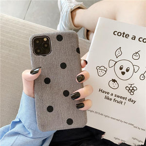 Retro Polka Dot Fabric Silicone Shockproof Protective Designer iPhone Case For iPhone SE 11 Pro Max X XS Max XR 7 8 Plus - Casememe.com