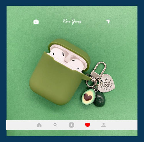 Cute Avocado Green Silicone Protective Shockproof Case For Apple Airpods 1 & 2 - Casememe.com