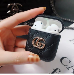 Gucci Style GG Marmont Leather Luxury Protective Shockproof Case For Apple Airpods 1 & 2 - Casememe.com