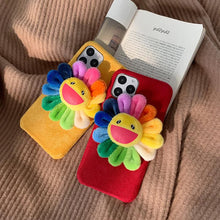 Load image into Gallery viewer, Takashi Murakami Style Flower Furry Shockproof Protective Designer iPhone Case For iPhone 11 Pro Max X XS Max XR 7 8 Plus - Casememe.com